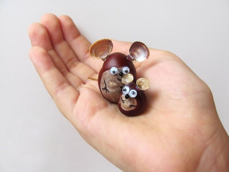 Mäuse basteln Kinder Herbst Kastanien Muschelschalen
