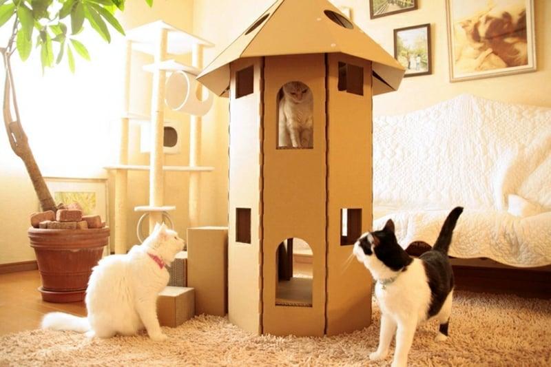 Katzenspielturm selber machen Anleitung