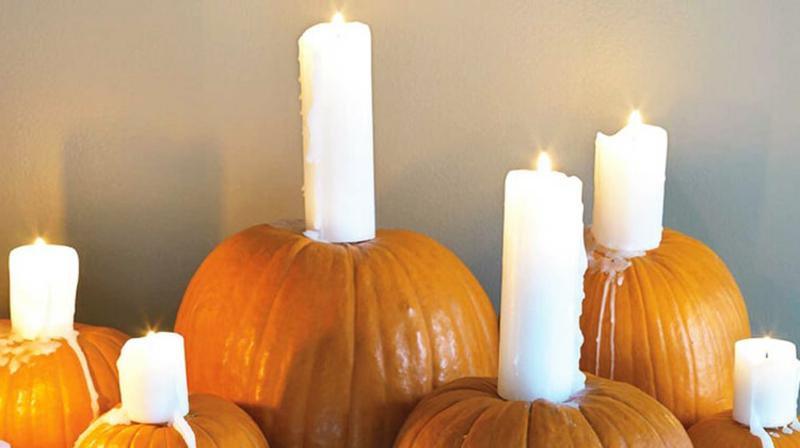 Halloween Deko Kerzenhalter Kürbisse
