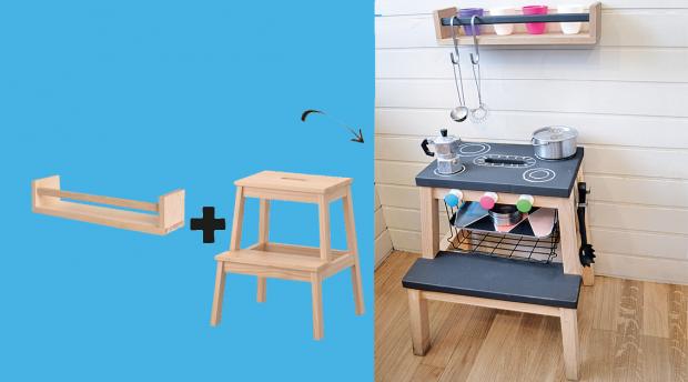 IKEA Hacks Kinderzimmer Spielküche gestalten Tritthocker Gewürzregal