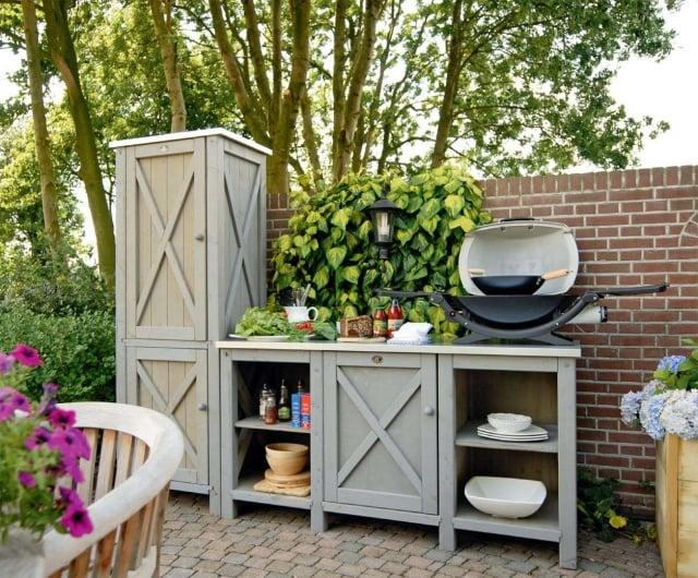 Outdoor Küche Holzschränke Stauraum Küchenutensilien