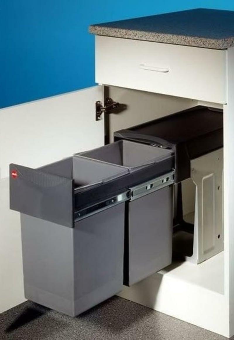 Mülleimer Küche eingebaut Metall modern praktisch