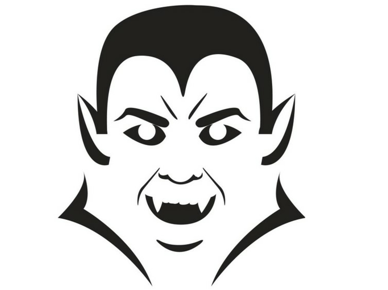 Halloweenkürbisse schnitzen Vorlage Dracula