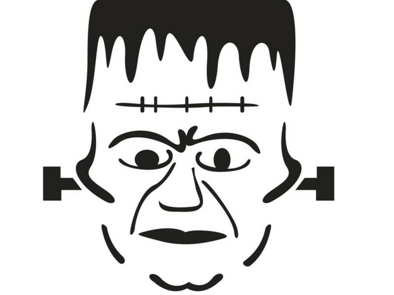 Halloweenkürbis schnitzen Vorlage Frankenstein