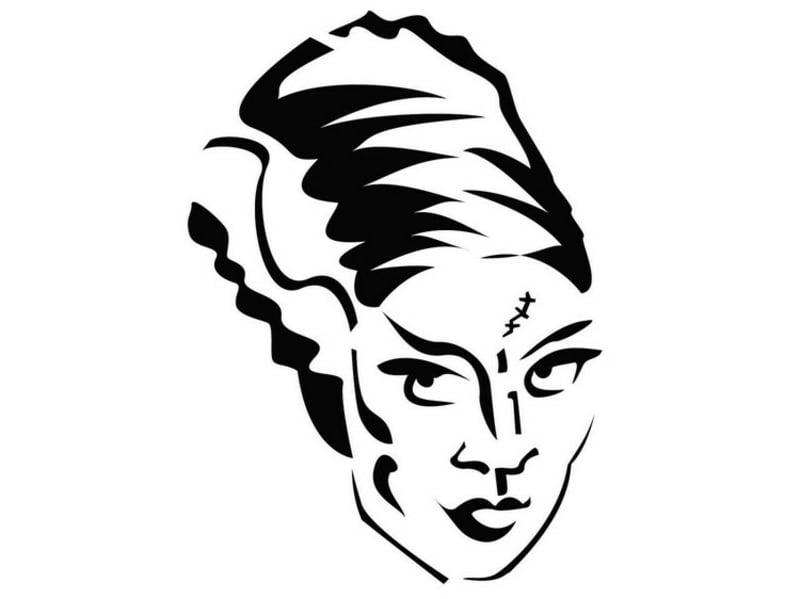 Kürbislaterne Schnitzvorlage Frankensteins Braut