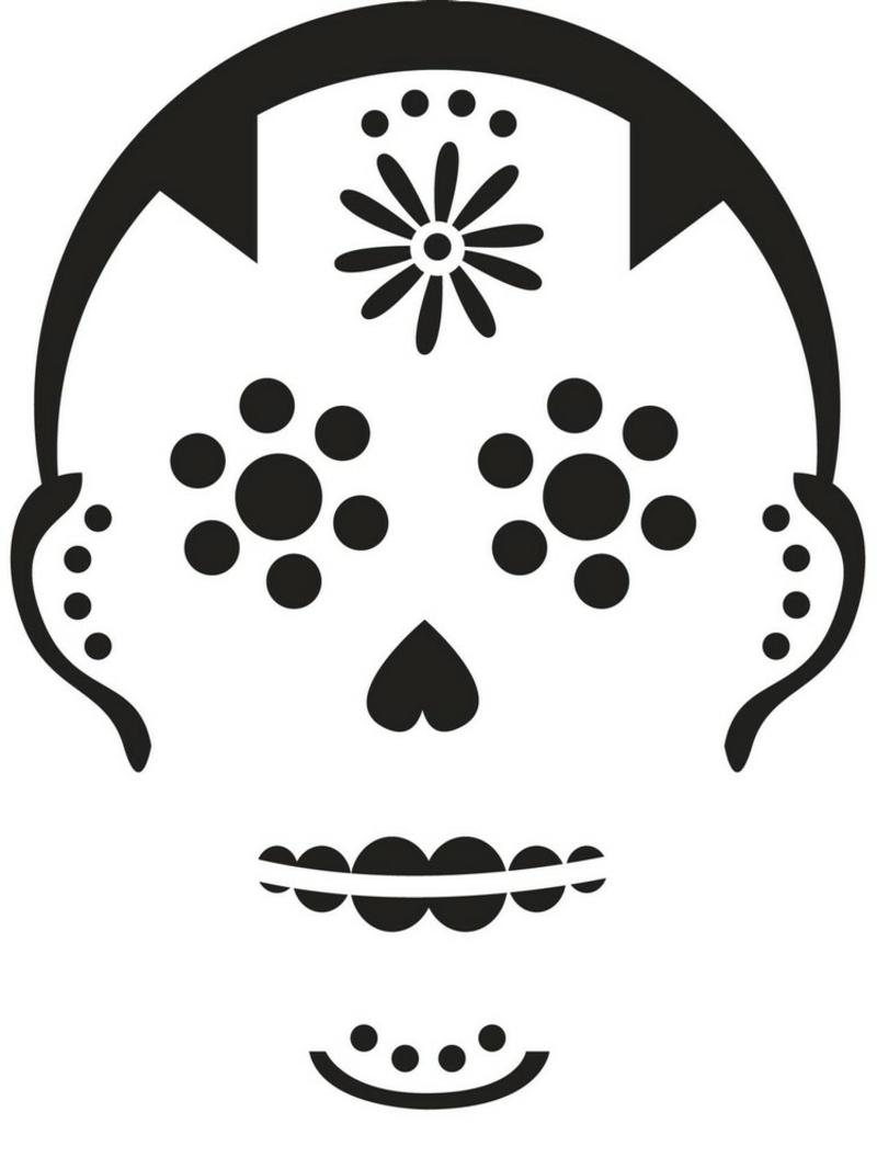 Halloween Kürbisse schnitzen Vorlage Schädel stilisiert