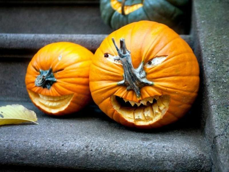 Kürbis Gesicht böse selbstgemacht Halloween