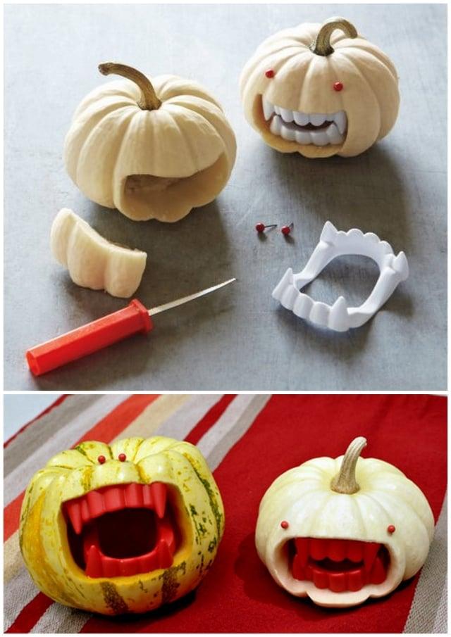 Zierkürbisse künstliche Zähne schaurig