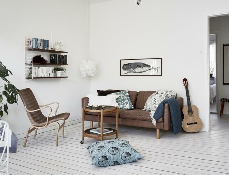 Ledercouch Wohnzimmer skandinavischer Stil
