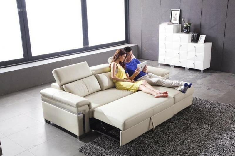 Sofa mit Schlaffunktion Lederpolsterung