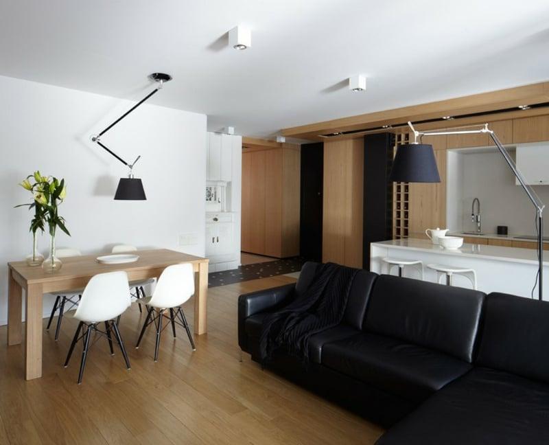 Ledersofa schwarze Polsterung Wohnküche