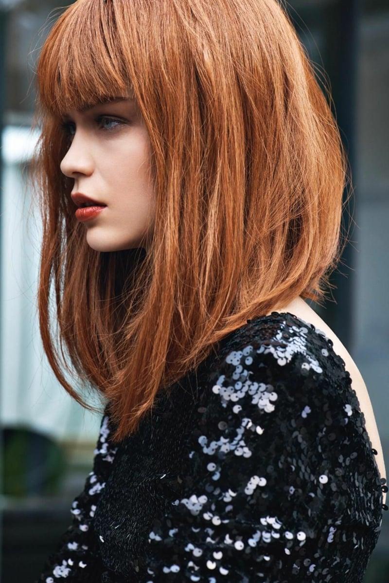 Stufenschnitt mittellanges Haar