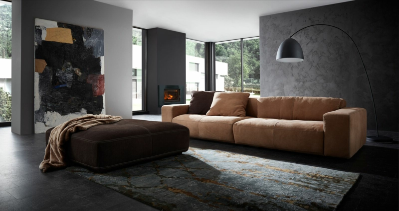 Wohnzimmer moderne Einrichtung Ledersofa