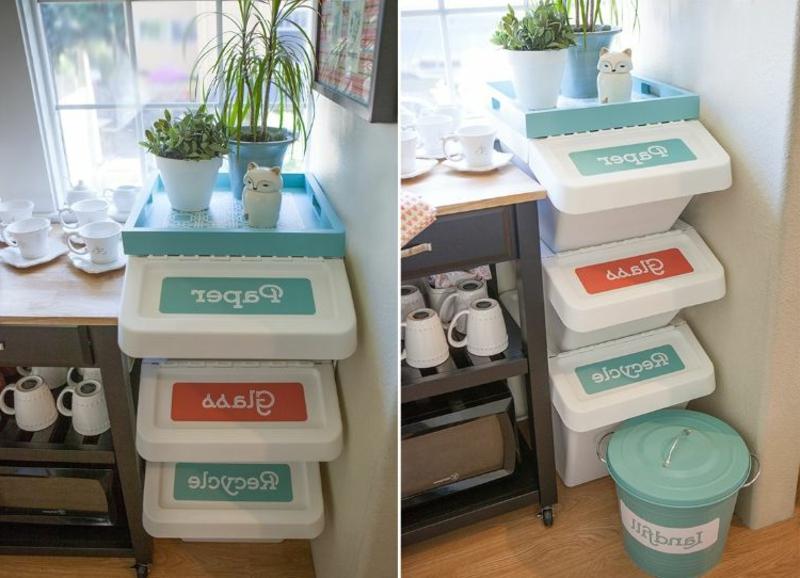 Mülltrennung Küche einzelne Eimer