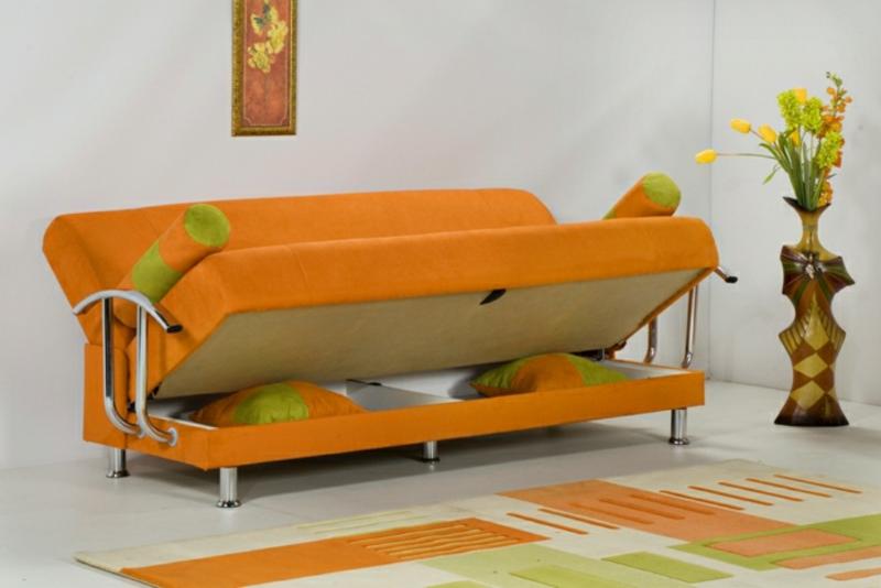 oranges Sofa Bettmechanismus modern
