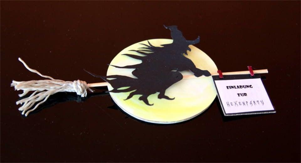 Einladungskarte Halloween Hexe