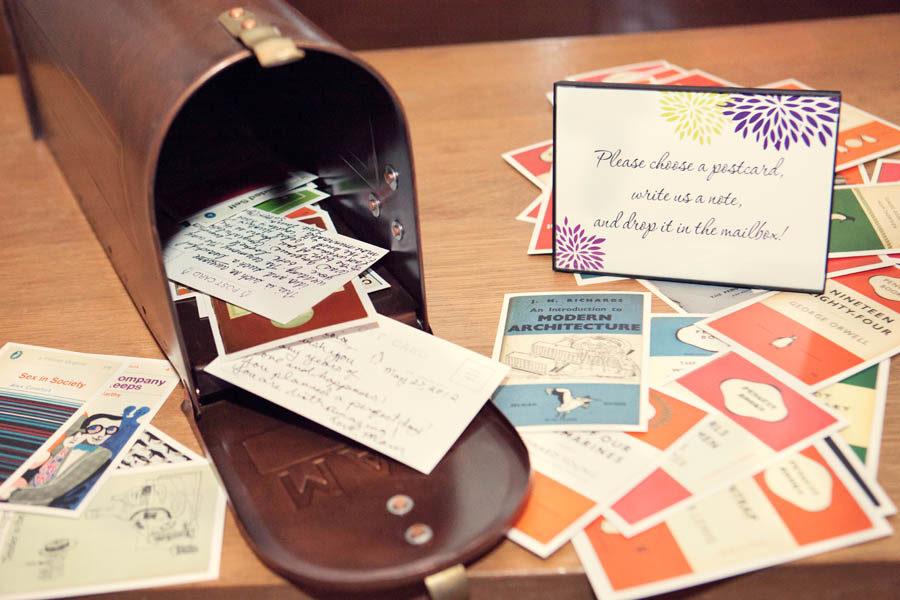 Postkarten Briefkasten kreative Idee Hochzeitsbuch