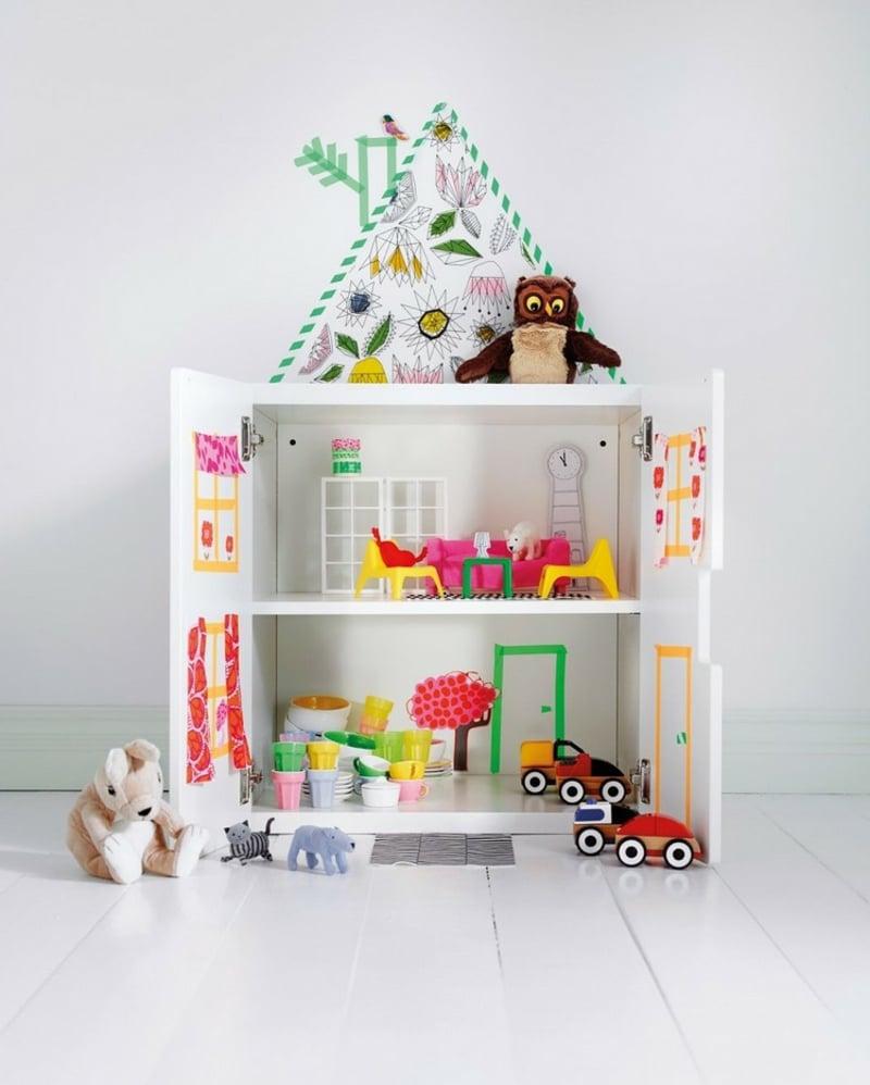 Kinderzimmer Puppenhaus gestalten Kallax Regal