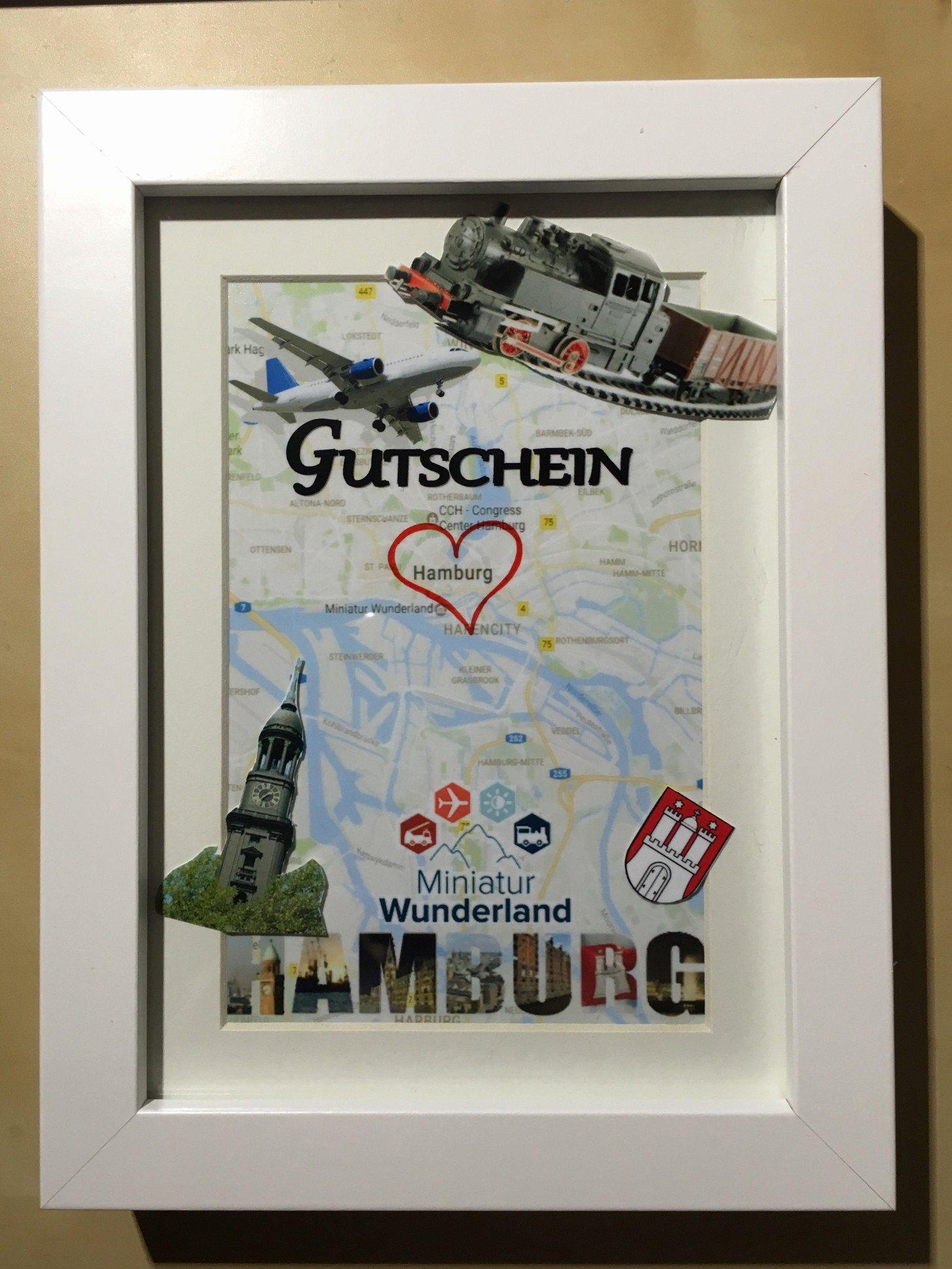 Reisegutschein basteln Hamburg Bilderrahmen