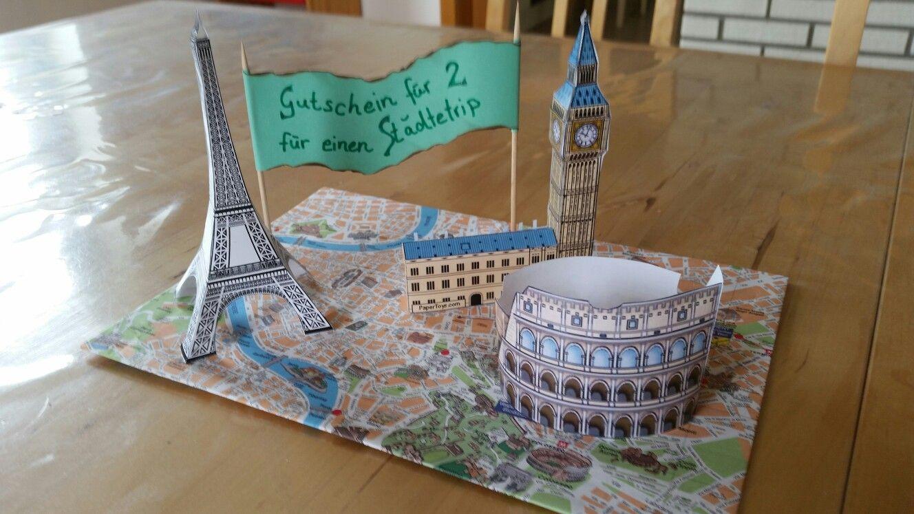 Reisegutschein basteln eindrucksvolle Idee Städtetrip Europa
