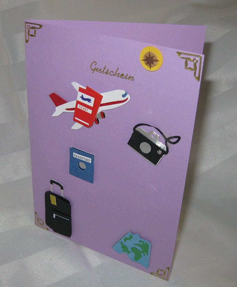 Reisegutschein basteln Karte Designideen
