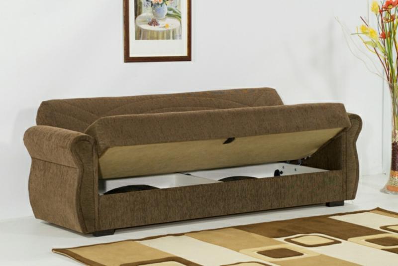braunes Sofa mit Bettfunktion Wohnzimmer