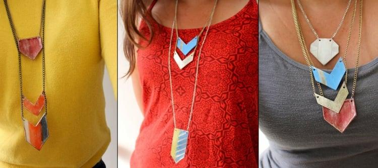 tolle Halsketten geometrische Motive selbstgemacht