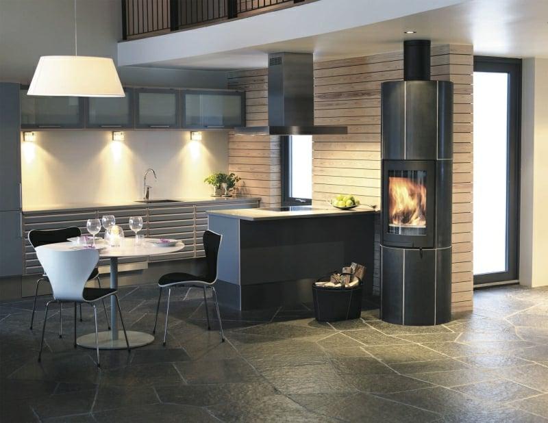 Kaminofen Raumteiler Wohnzimmer Küche