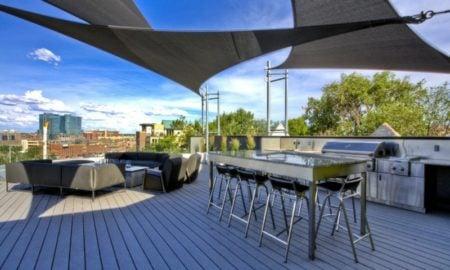 Terrasse Outdoor Küche Sonnensegel befestigen