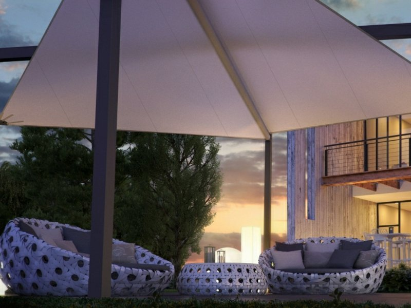 Terrasse moderne Rattanmöbel Sonnensegel