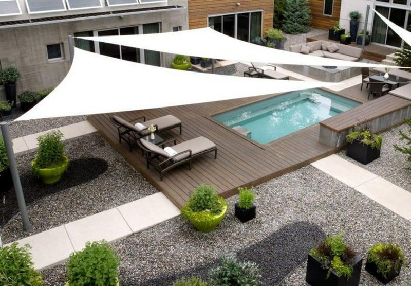 Sonnensegel bespannen Terrasse modern