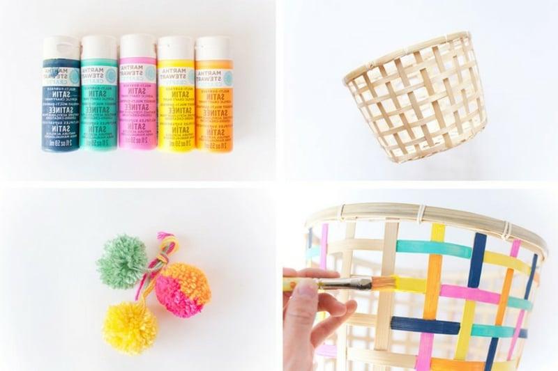 Spielzeugkorb mit Farbe aufpeppen Kinderzimmer