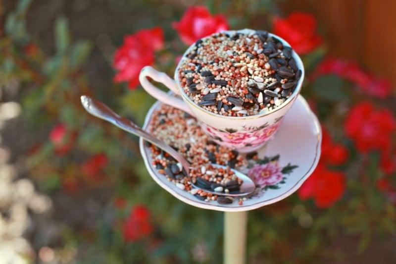 Vogelfutterhaus gestalten Teetasse origineller Look