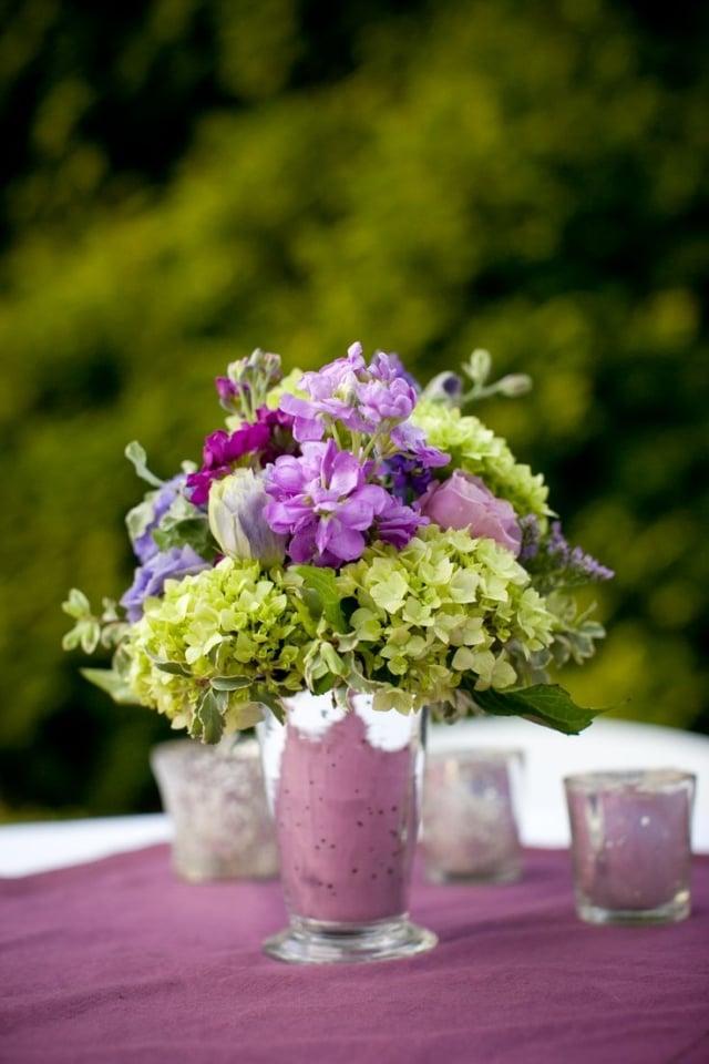 Tischdeko Hochzeit Blumenstrauß Hortensien