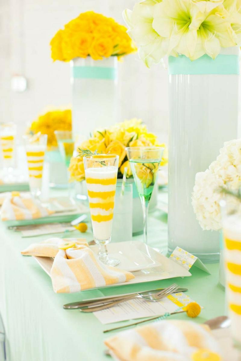 Tisch dekorieren Farbschema Gelb Weiß