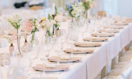 Tischdeko Hochzeit Farbschema Weiß Pastellrosa
