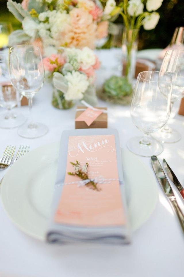 Tischdeko Hochzeit Menükarte Pastellrosa