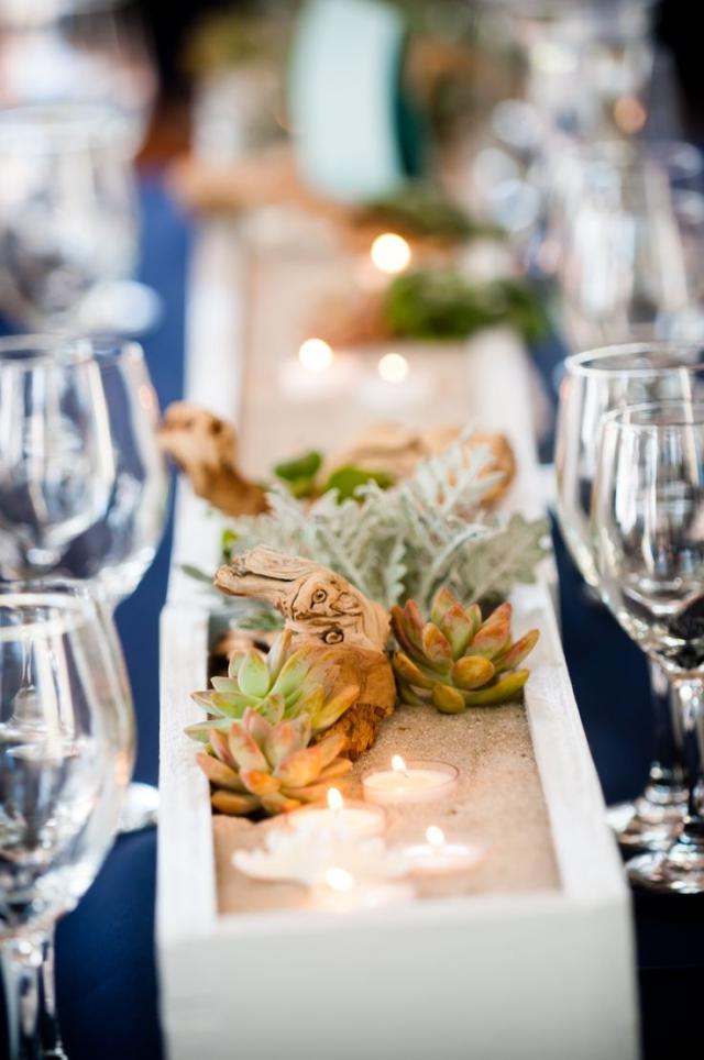 Tisch dekorieren Holzkasten Sukkulenten Sand
