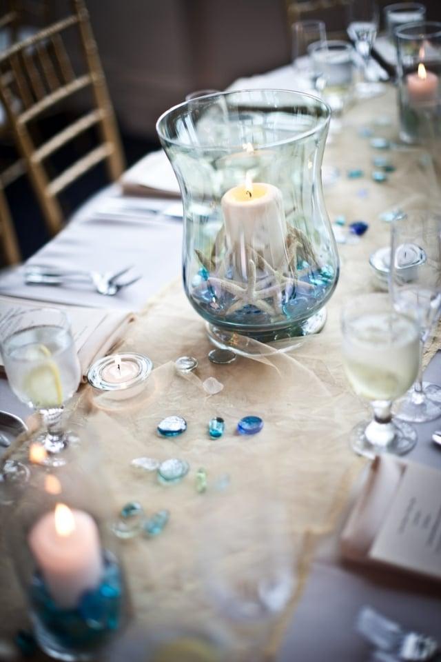 Tischdeko Hochzeit Windlichter maritim herrlicher Look