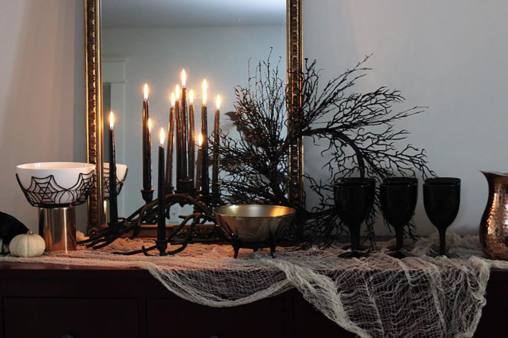 Halloween Deko Tisch schwarz stilvoll