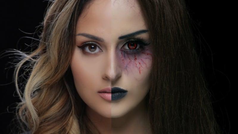 sich wie einen Vampir schminken