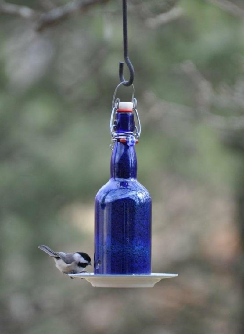 Vogelhaus leere Glasflasche Tassenuntersetzer Garten