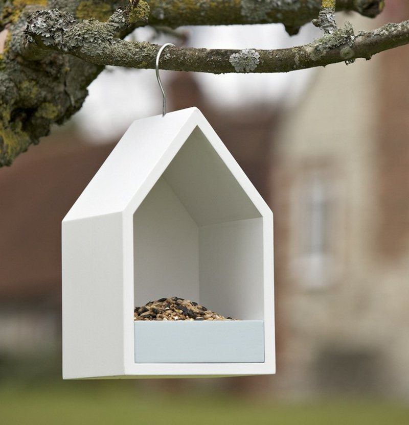 Vogelfutterhaus Holz weiß gestrichen