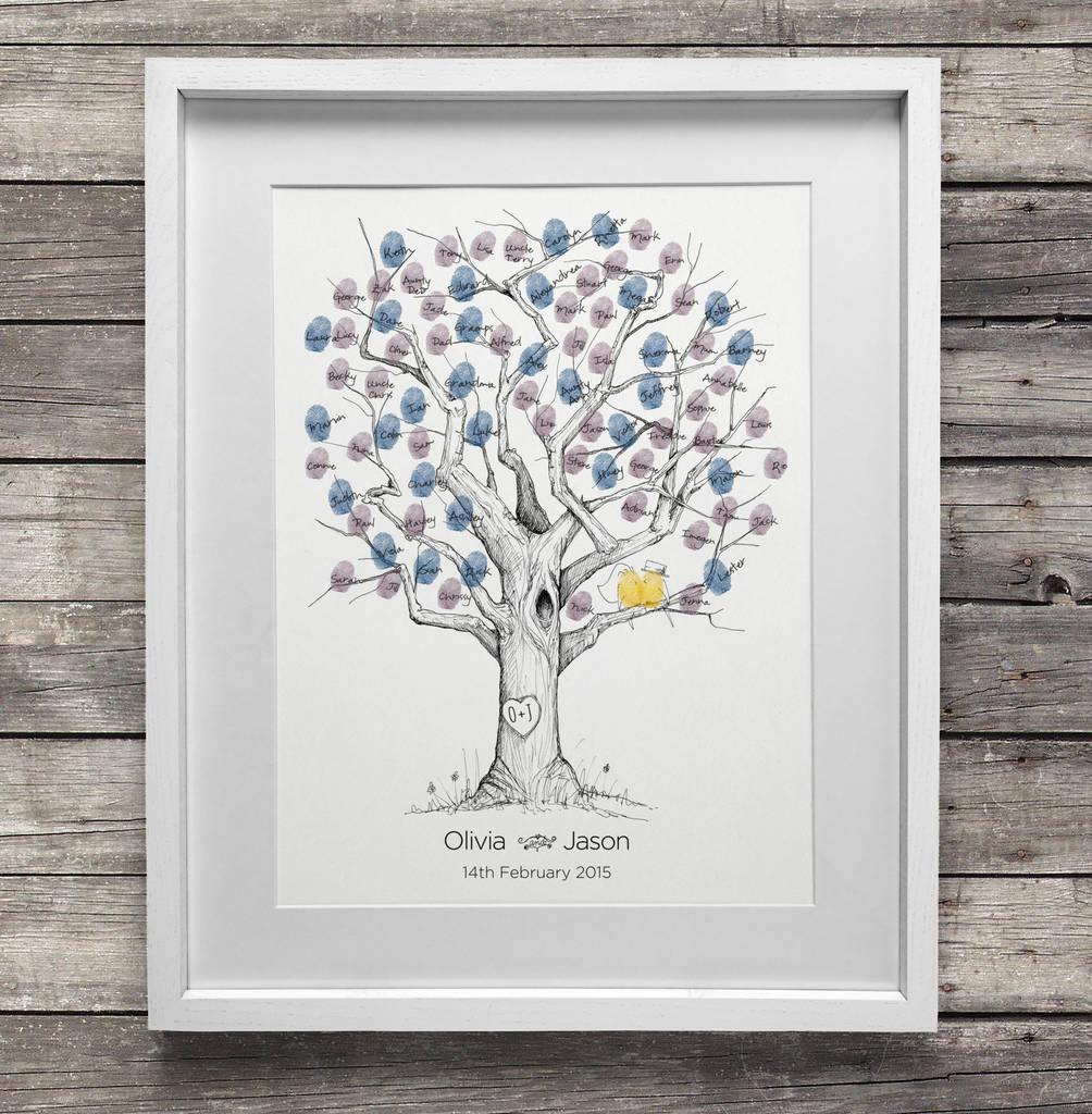 Fingerabdruck Baum Hochzeitsbuch in Rahmen setzen