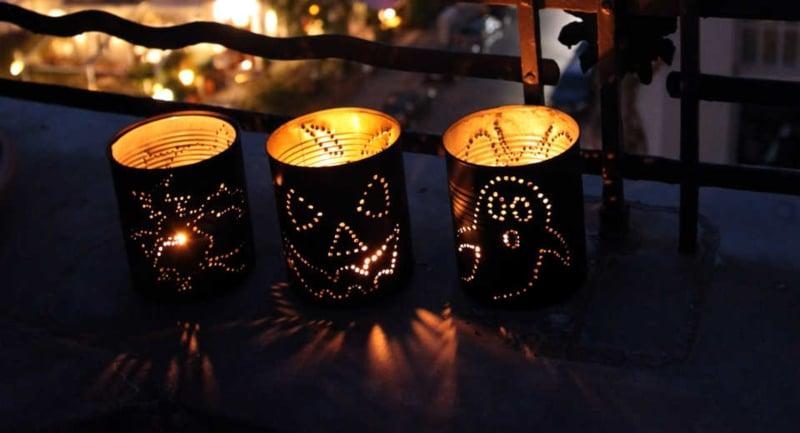 Halloween Deko Windlichter aus Konservendosen