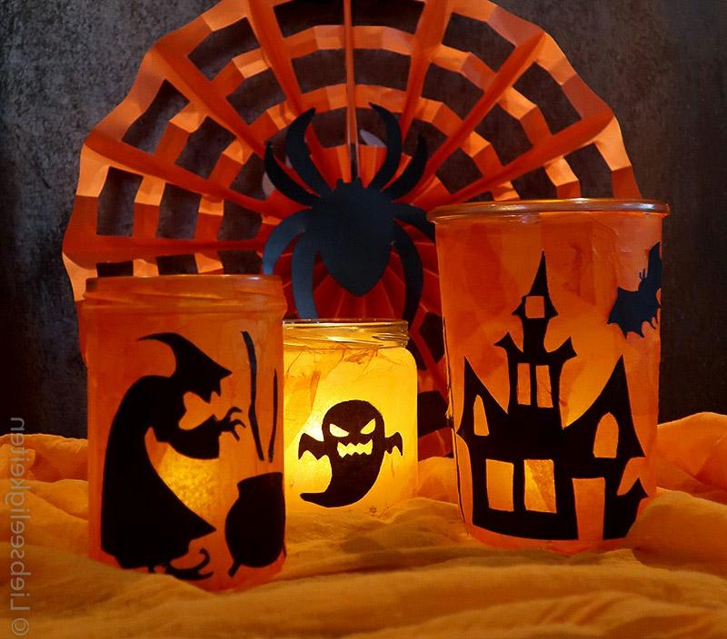 Halloween Deko Windlichter basteln Vorlagen verwenden