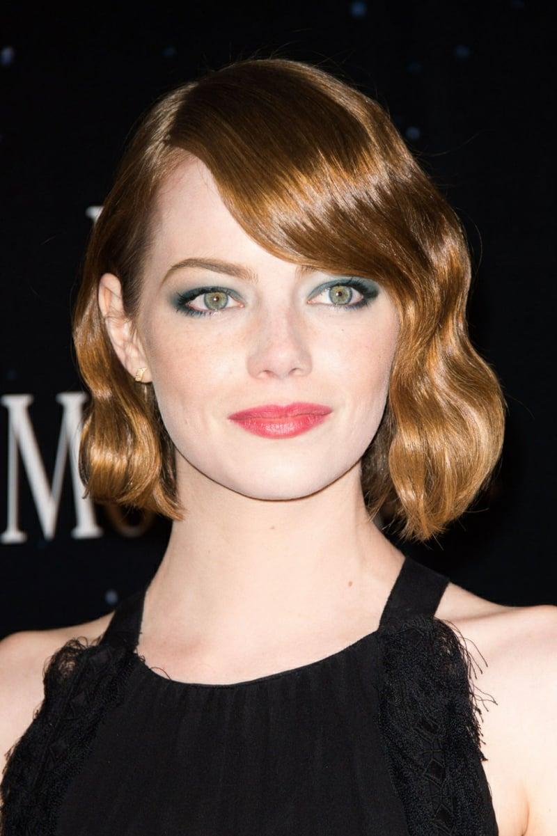 Make-up Emma Stone blaue Lidschatten