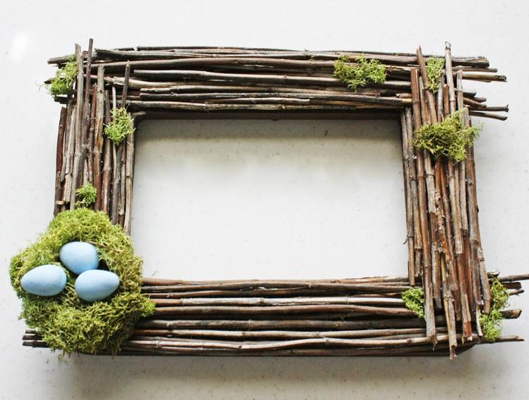Frühlingsdeko aus Holz selber machen Bilderrahmen