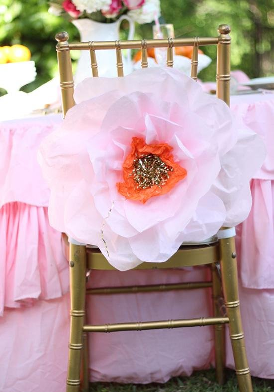 Blumen basteln groß Deko Stuhl