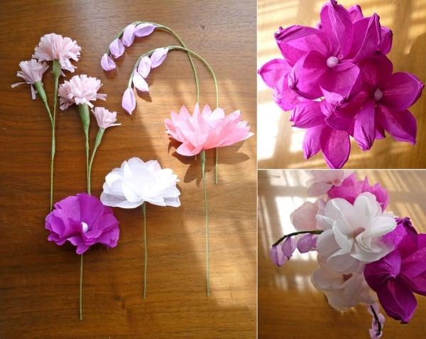 Basteln mit Seidenpapier schöne Blumen